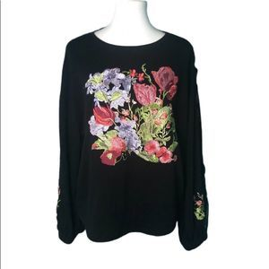 INC Womens L Black Embroidered Top